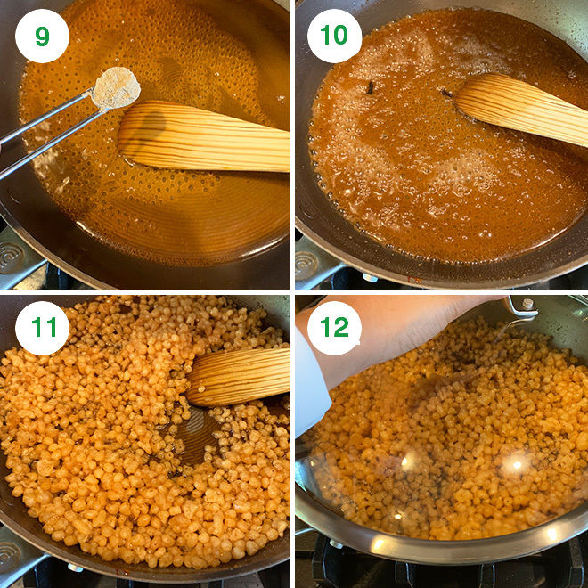step by step picture collage of making sweet boondi