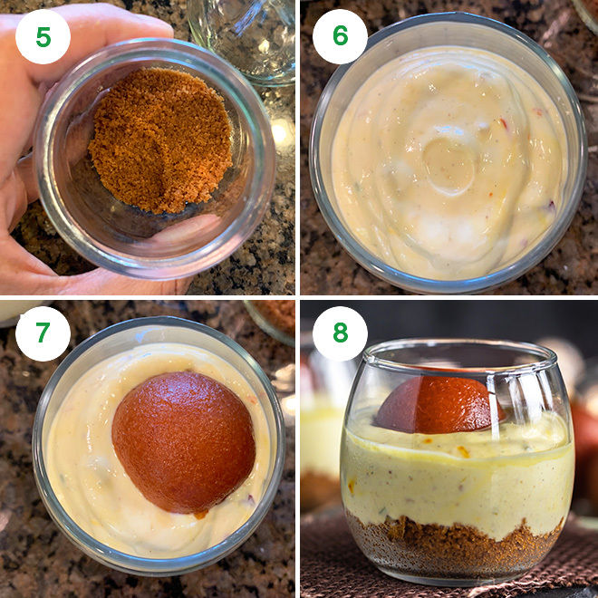 step by step picture collage of making gulab jamun shrikhand jars