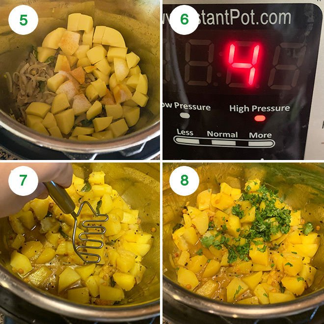 step by step picture collage of making potato masala in the Instant Pot
