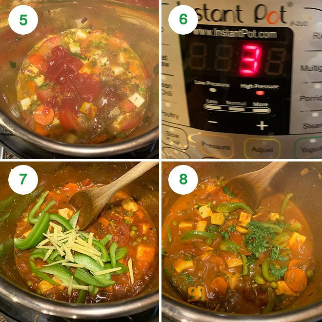 step by step picture collage of making vegetable jalfrezi in instant pot
