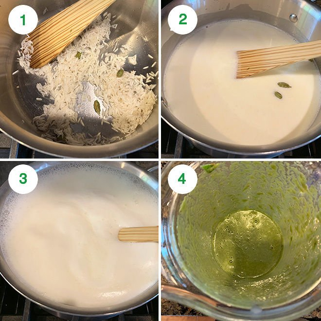 step by step picture collage of making paan kheer