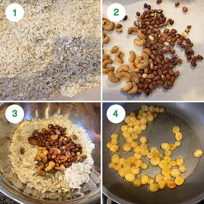 step by step picture collage of making roasted poha chivda