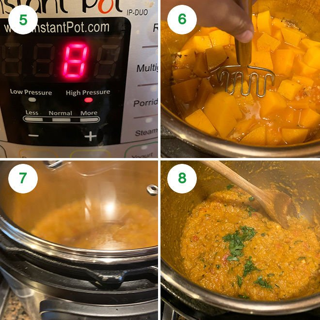 step by step picture collage of making butternut squash bharta