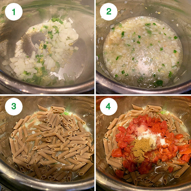 step by step pictures of making makhani pasta in instant pot