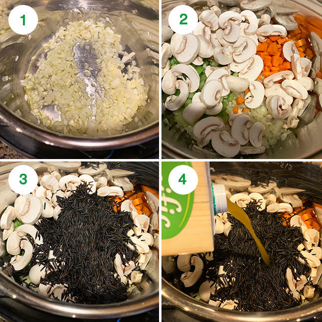 step by step picture collage of making mushroom wild rice soup in instant pot