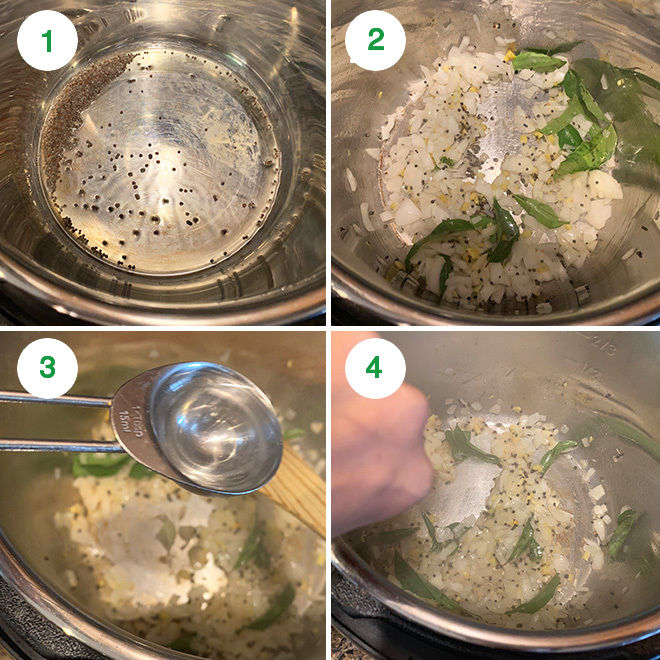 step by step picture collage of making a cabbage peas stir fry in instant pot