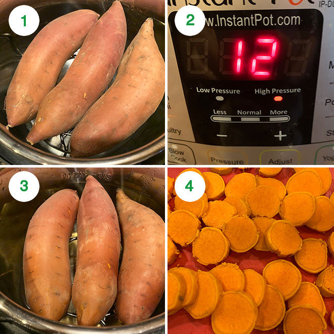 step by step picture collage of cooking sweet potatoes in instant pot