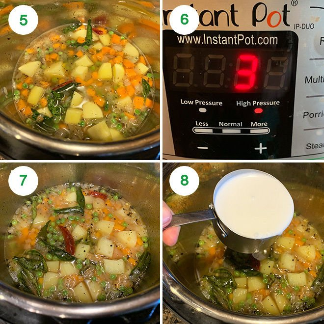 step by step picture collage of making vegetable coconut stew