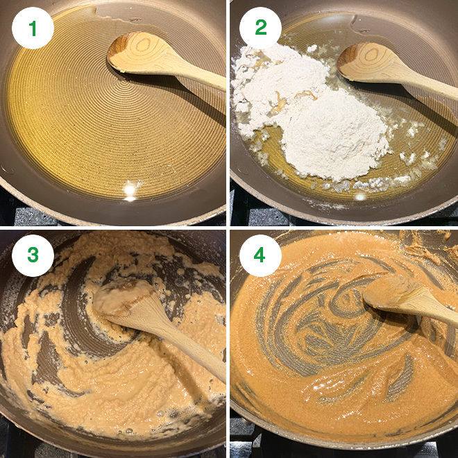 step by step picture collage of making atta halwa