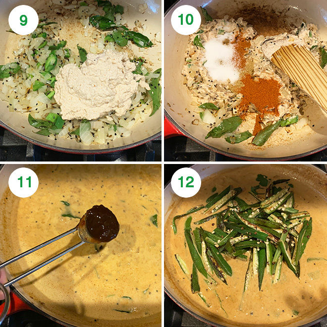 step by step picture collage of making bagara bhindi