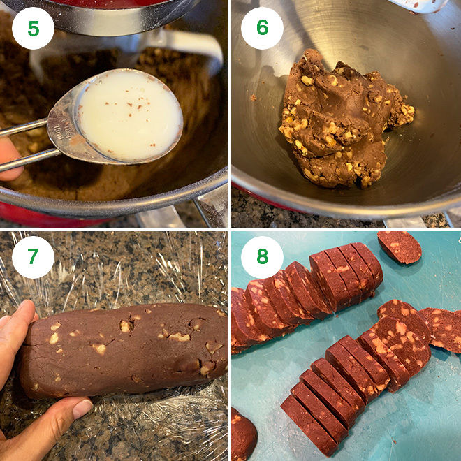 step by step picture collage of making chocolate walnut cookies