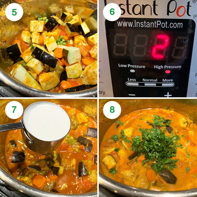 step by step picture collage of making eggplant carrot curry in instant pot