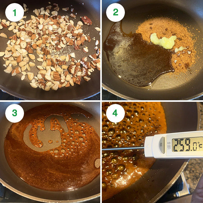 step by step picture collage of making mixed nuts chikki