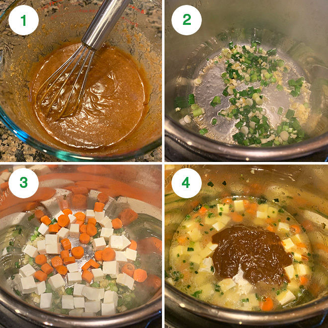 step by step picture collage of making paneer veggies in peanut sauce in the instant pot