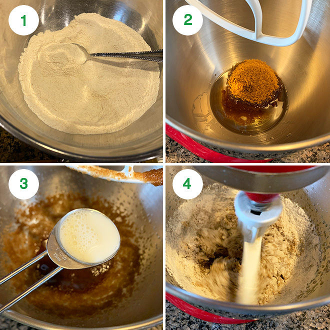 step by step picture collage of making vegan almond jaggery cookies