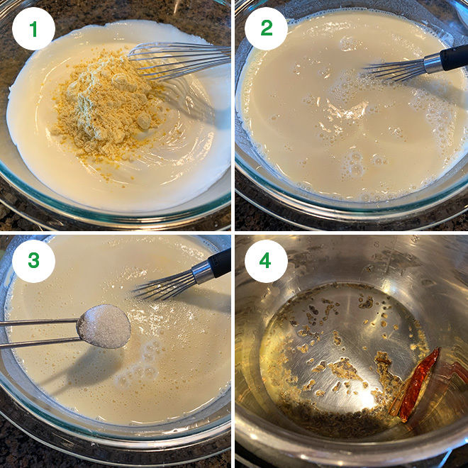 step by step picture collage of making gujarati kadhi