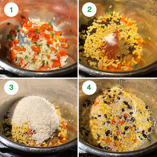 step by step picture collage of making instant pot vegan burrito bowls