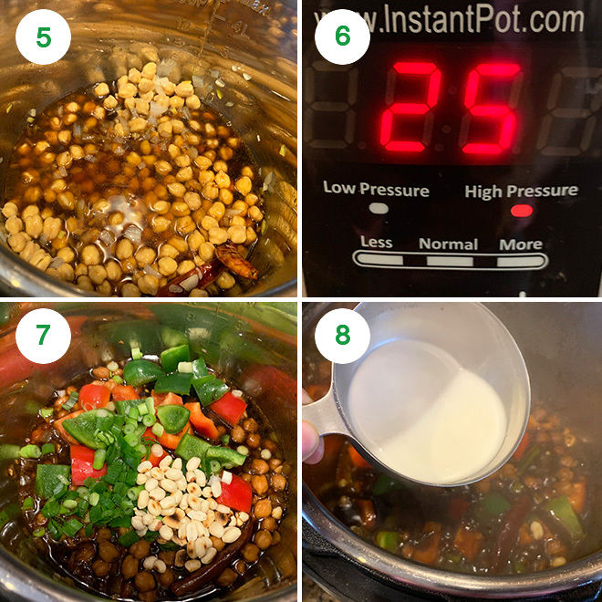 step by step picture collage of making kung pao chickpeas in instant pot