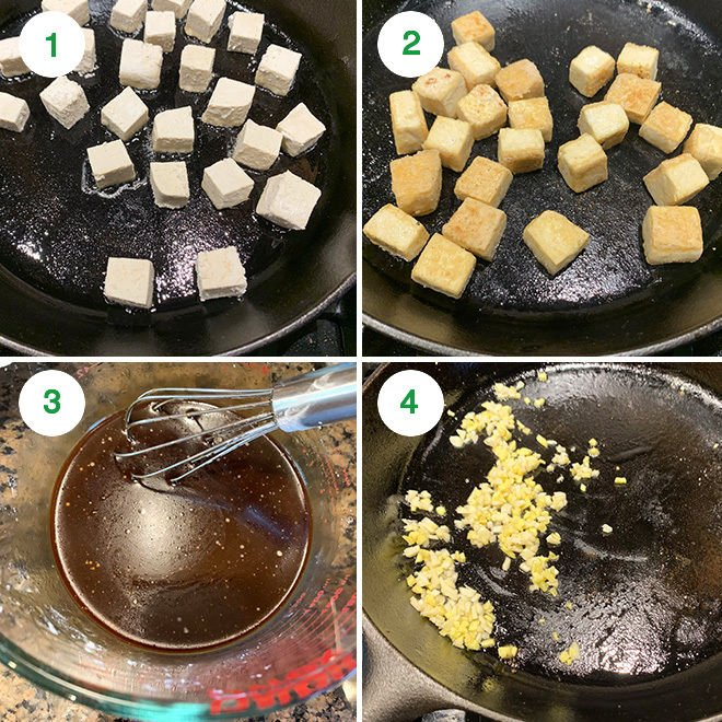 step by step picture collage of making asian style tofu broccoli stir-fry