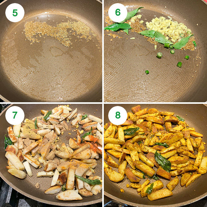 step by step picture collage of making arbi fry