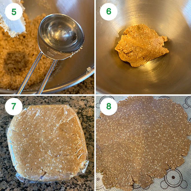step by step picture collage of baking baked gur para