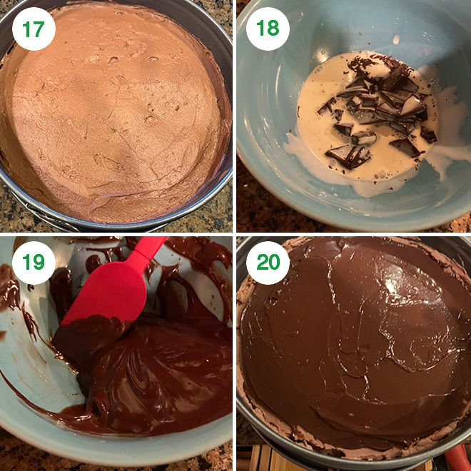 step by step picture collage of making eggless chocolate mousse cake