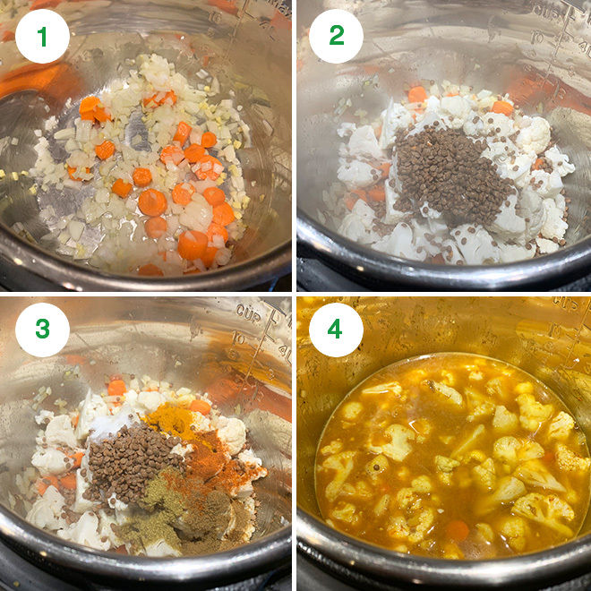 step by step pictures in a collage depicting how to make cauliflower lentil soup in instant pot