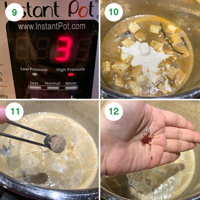 step by step picture collage of making shahi tofu in instant pot