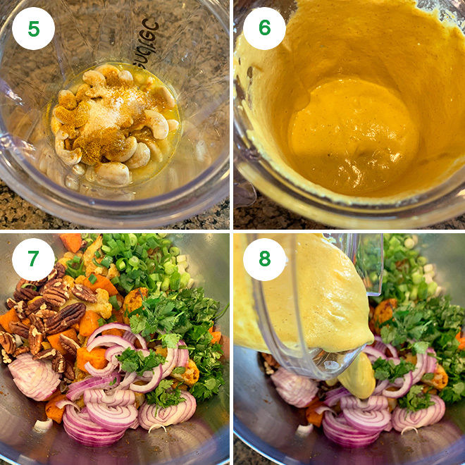 step by step picture collage of making cauliflower sweet potato salad