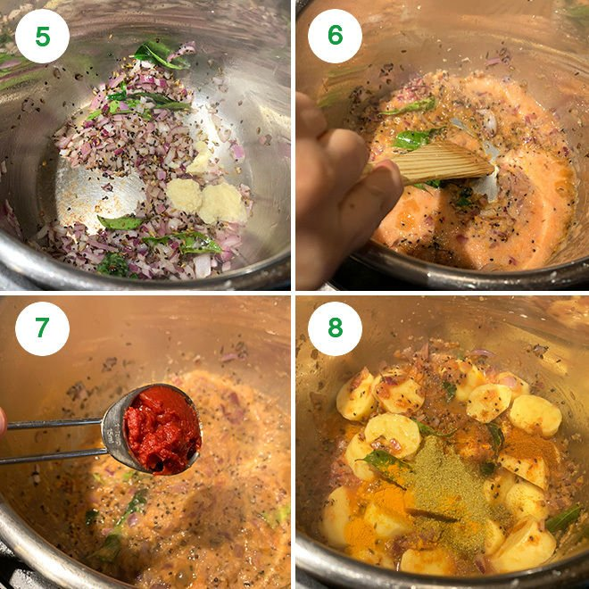 step by step picture collage of making achari aloo in the Instant Pot