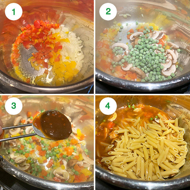 step by step picture collage of making vegetarian chipotle pasta in instant pot