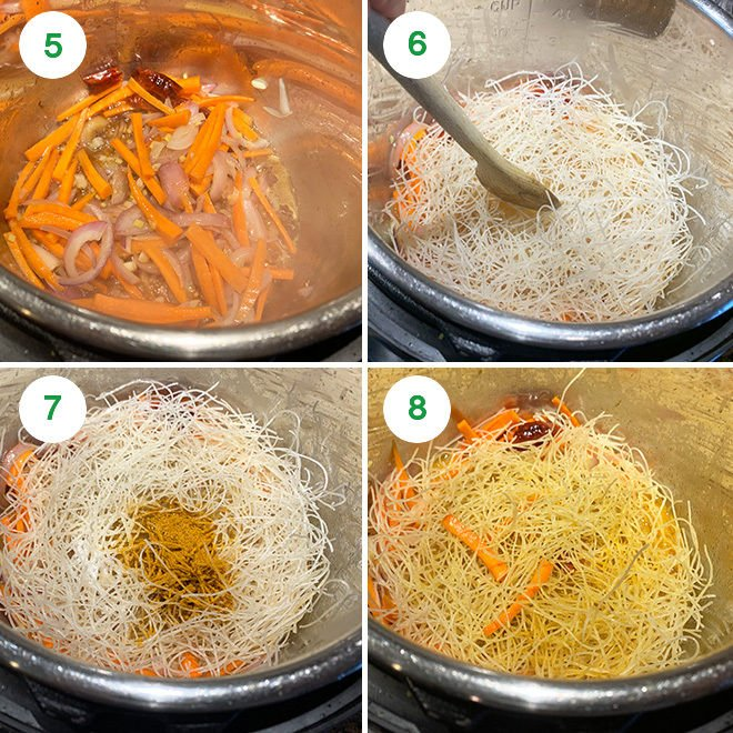 step by step picture collage of making singapore noodles in the instant pot