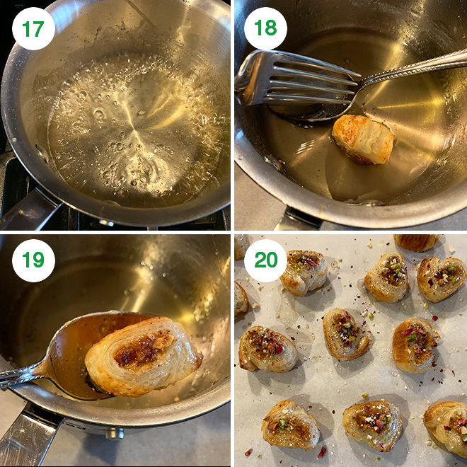step by step picture collage of making gujiya bites using puff pastry