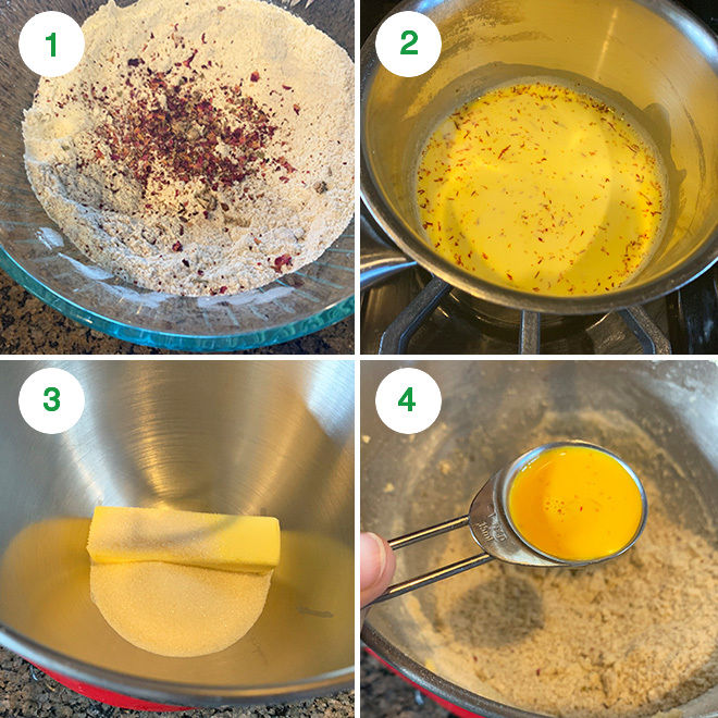 step by step picture collage of making thandai cookies