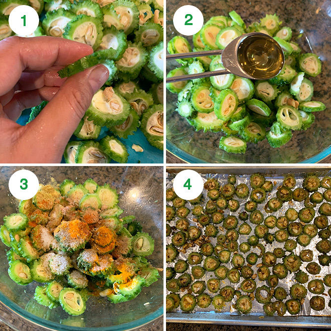 step by step picture collage of baking karela in the oven
