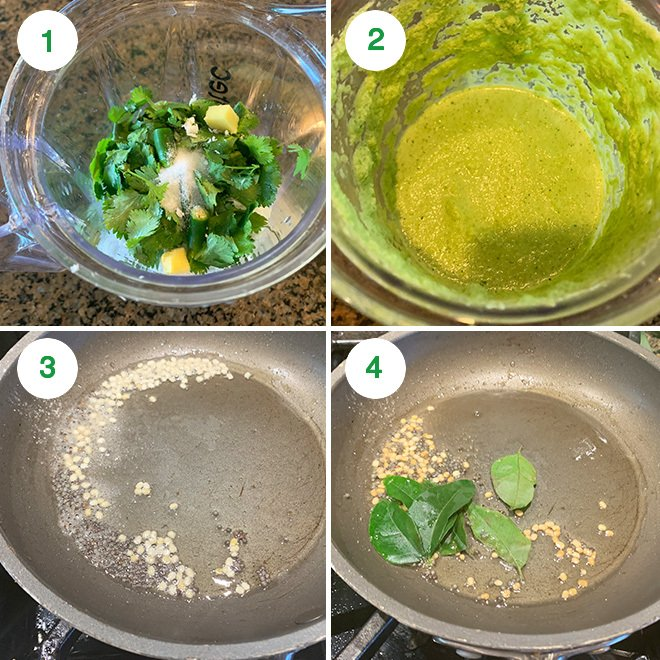 step by step picture collage of making cilantro coconut chutney