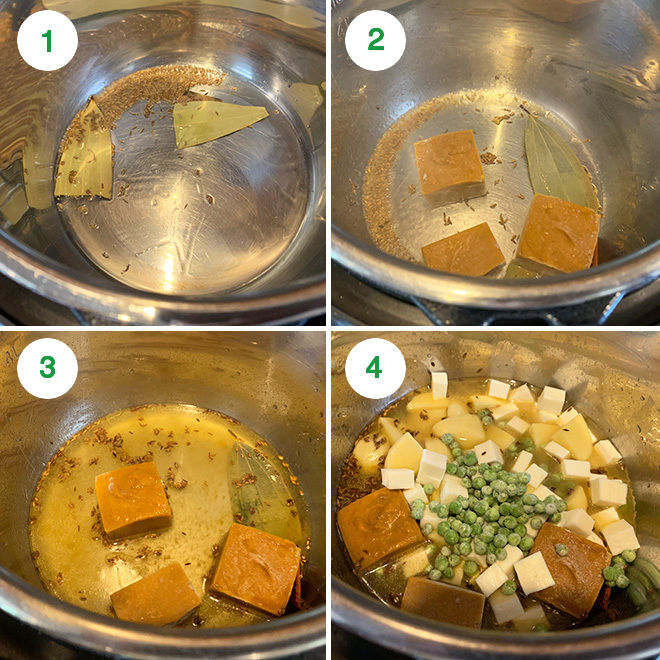 step by step picture collage of making aloo matar paneer in instant pot