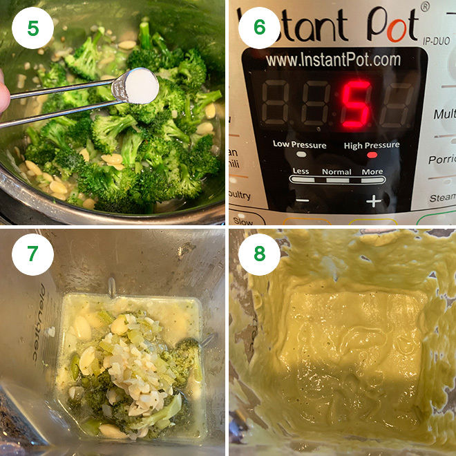 step by step picture collage of making broccoli almond soup in instant pot