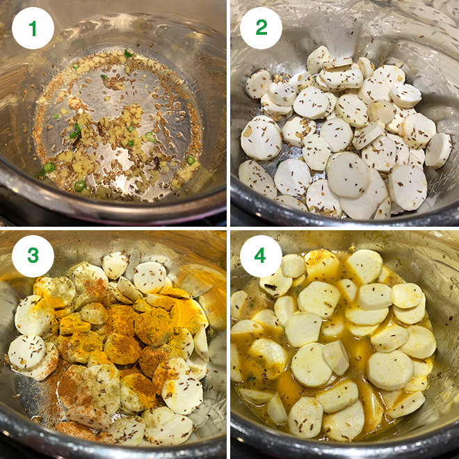 step by step picture collage of making dahi arbi in instant pot