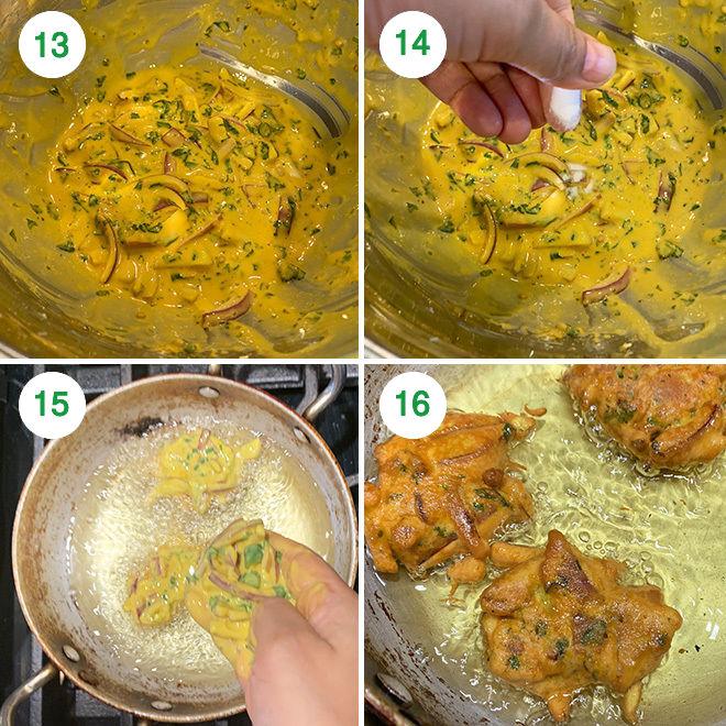 step by step picture collage of making punjabi kadhi pakora