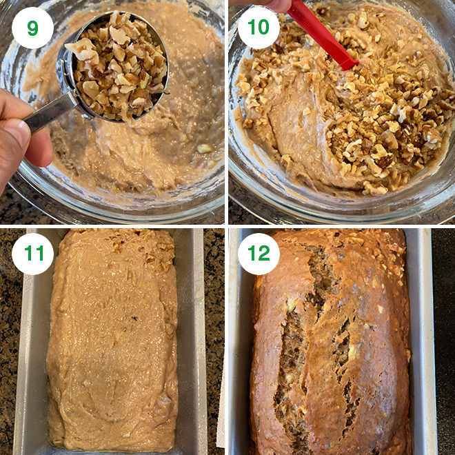 step by step picture collage of making vegan banana bread