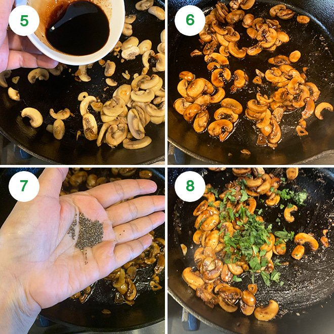 step by step picture collage of making balsamic mushrooms