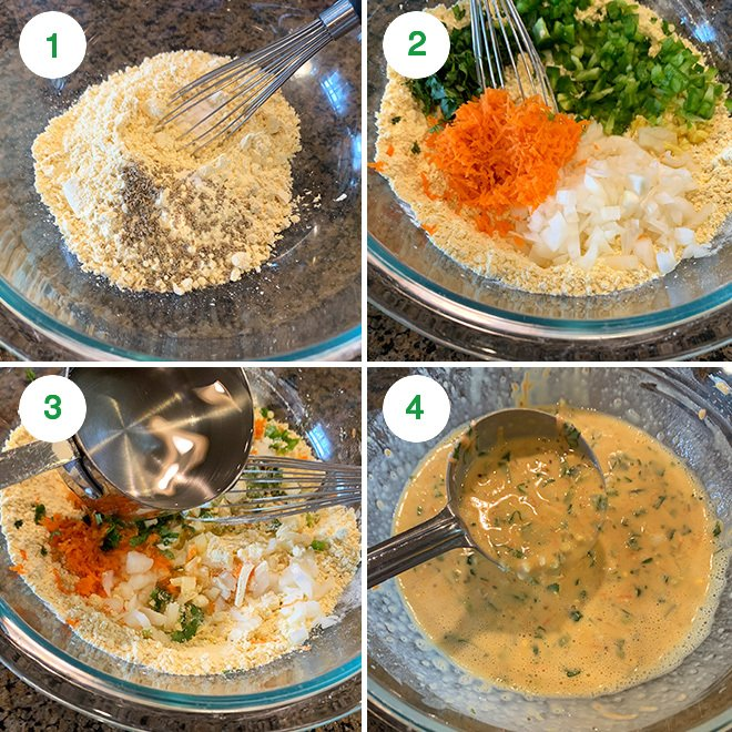 step by step picture collage of making besan chilla