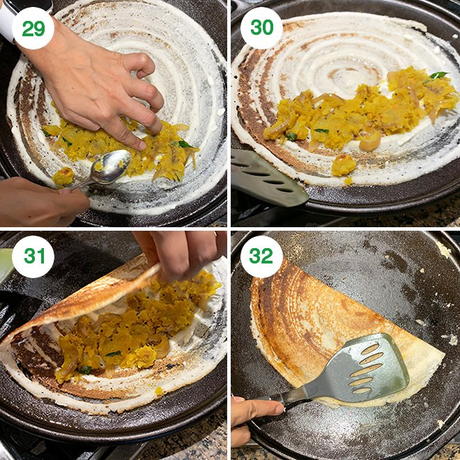 step by step picture collage of making crispy masala dosa at home