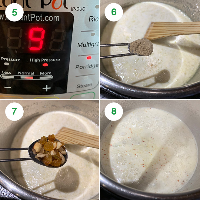 step by step picture collage of making lauki kheer in instant pot