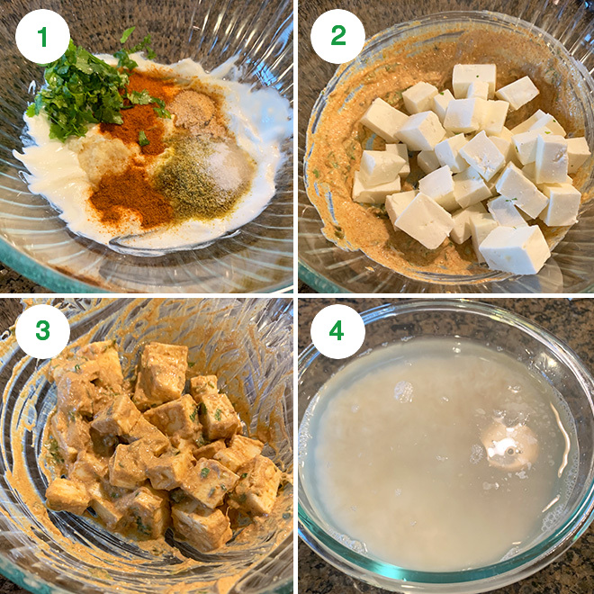 step by step picture collage of making paneer biryani in instant pot