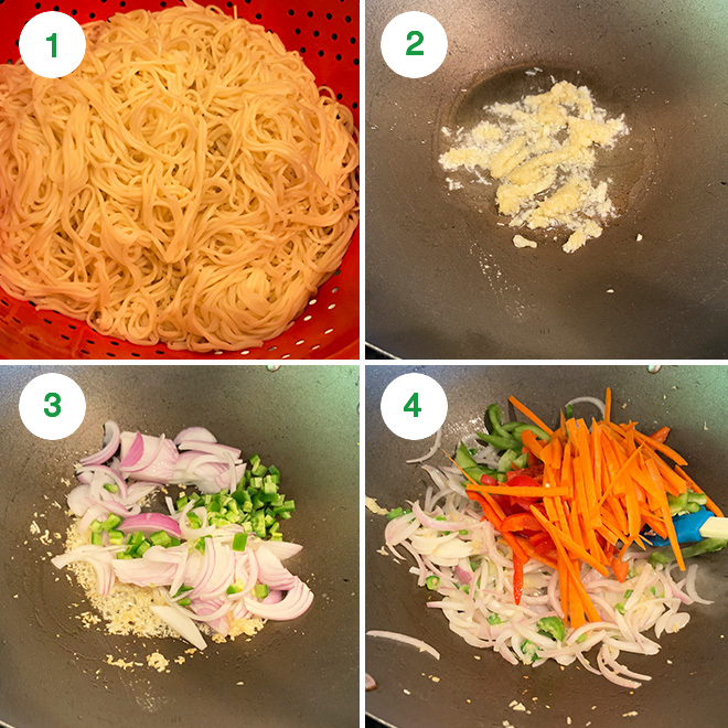 step by step picture collage of making chili garlic noodles