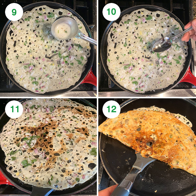 step by step picture collage of making crispy rava dosa