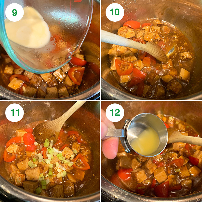 step by step picture collage of making hawaiian tofu in instant pot