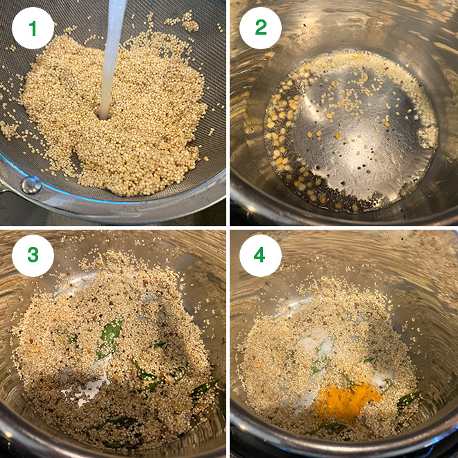 step by step picture collage of making lemon quinoa in the instant pot